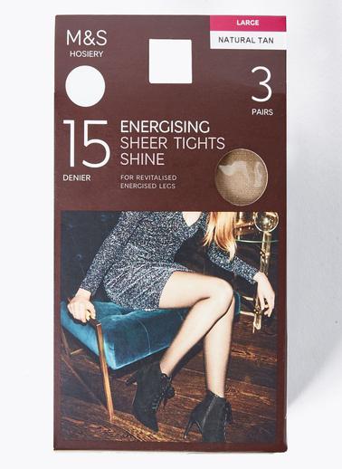 Marks & Spencer 3'lü 15 Denye Külotlu Çorap Seti Ten